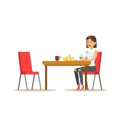 Woman Having Sweet Lunch Drinking Coffee and vector image vector image