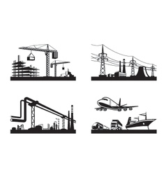 Different types of industries vector image vector image
