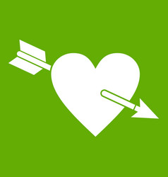 heart with arrow icon green vector image
