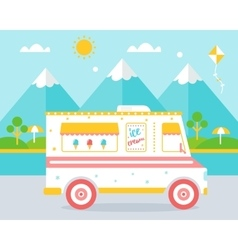 Ice cream truck agains beach landscape vector