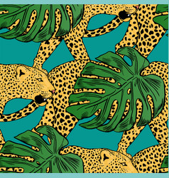 leopards in colorful tropical flowers vector image vector image