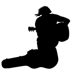 Silhouette musician guitar player sitting on the vector image