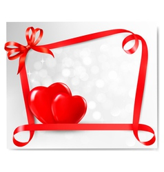 Valentine background with two red hearts and gift vector image vector image
