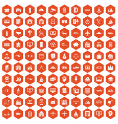 100 private property icons hexagon orange vector image