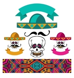 abstract ethnic festive mexican symbol set vector image