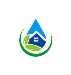 eco house water drop realty logo vector image vector image