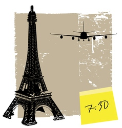 eiffel tower and plane vector image vector image