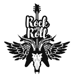 electric guitar and skull wings with rock and roll vector image
