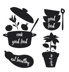 Kitchen related silhouettes with text vector image