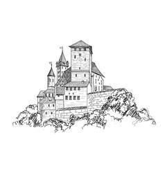Ancient castle landscape engraving tower building vector