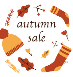 Autumn sale poster of discount promo web banner vector