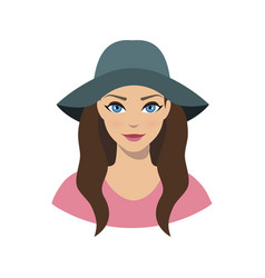 avatar icon of girl in a wide brim felt hat vector image