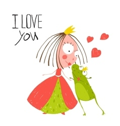 Baby Princess and Prince Frog Kissing vector image