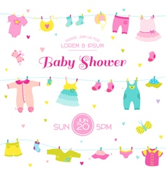 Baby shower or arrival card - girl elements vector