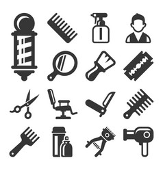 Barber shop salon icons set on white background vector