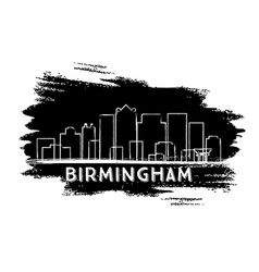Birmingham skyline silhouette hand drawn sketch vector