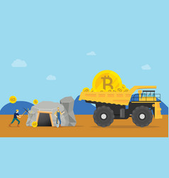 bitcoin mining concept with miner mine a golden vector image