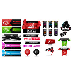 black friday sale large set discount banners vector image