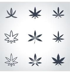 Black marijuana icon set vector
