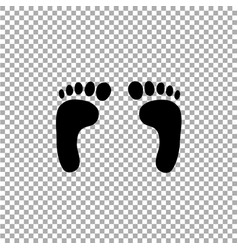 black silhouette of human footprint on vector image