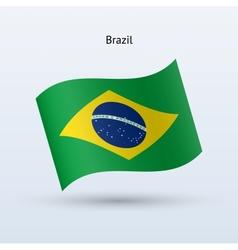 Brazil flag waving form vector