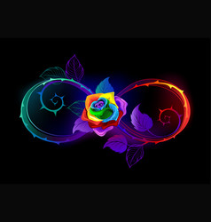 Bright infinity with rainbow rose vector