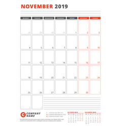 Calendar template for november 2019 business vector