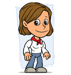 Cartoon girl character with red fillet vector