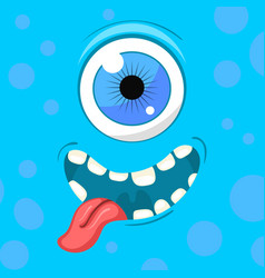 Cartoon monster face halloween blue vector