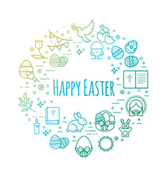 celebration easter signs happy easter outline vector image