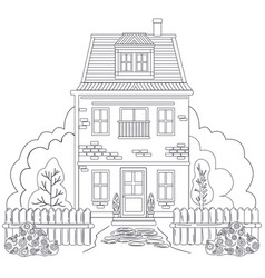Coloring black and white drawing antistress vector