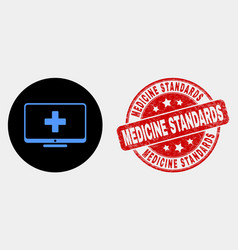 computer medicine icon and distress vector image