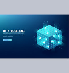 concept of big data processing center cloud vector image