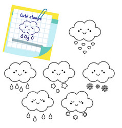 cute clouds outline icons stamps for kids and vector image