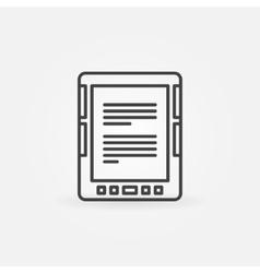 E-Book reader linear icon vector