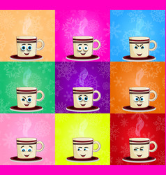 emoji set of cute cups with cheeks eyes and vector image