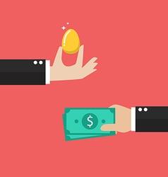 Exchange golden egg with money vector
