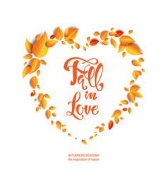 fall leaves heart vector image