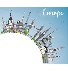 famous landmarks in europe with copy space vector image