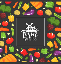 farm green food banner template with fresh ripe vector image