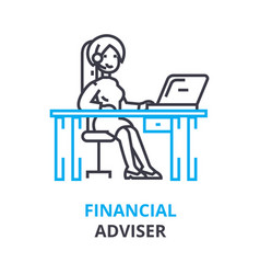 Financial adviser concept outline icon linear vector