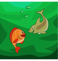 Fishes looking at each other in the deep vector