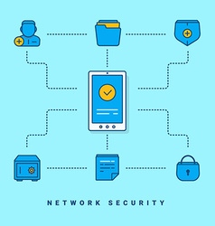 Flat conceptual Network security thin line for vector
