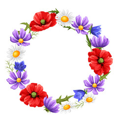 frame with summer flowers vector image