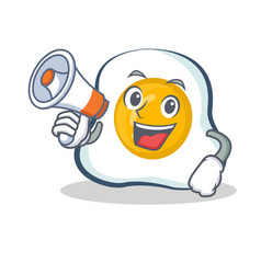 Fried egg character cartoon with megaphone vector