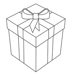 Gift box with bow and ribbon 3d line art vector