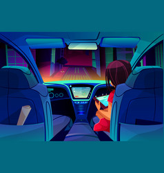girl control smart car inside vector image
