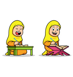 Girl islamic school kids reading holy koran vector