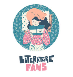 girl with cat lies reading book literature fans vector image