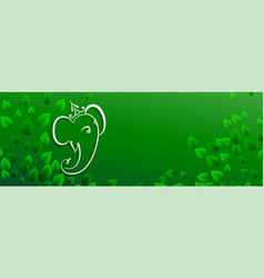 Green eco lord ganesha banner with text space vector